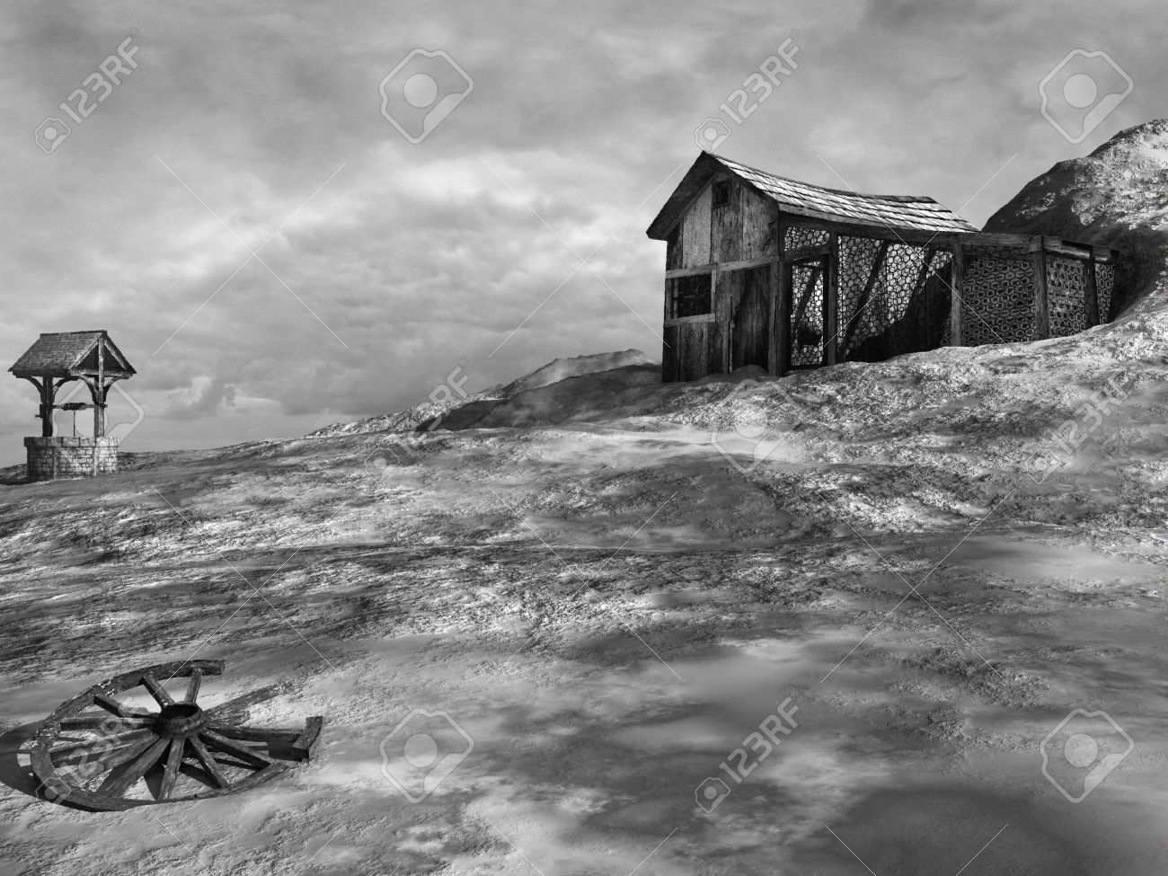 Black and white scenery with an old shack and a well stock photo 60928173