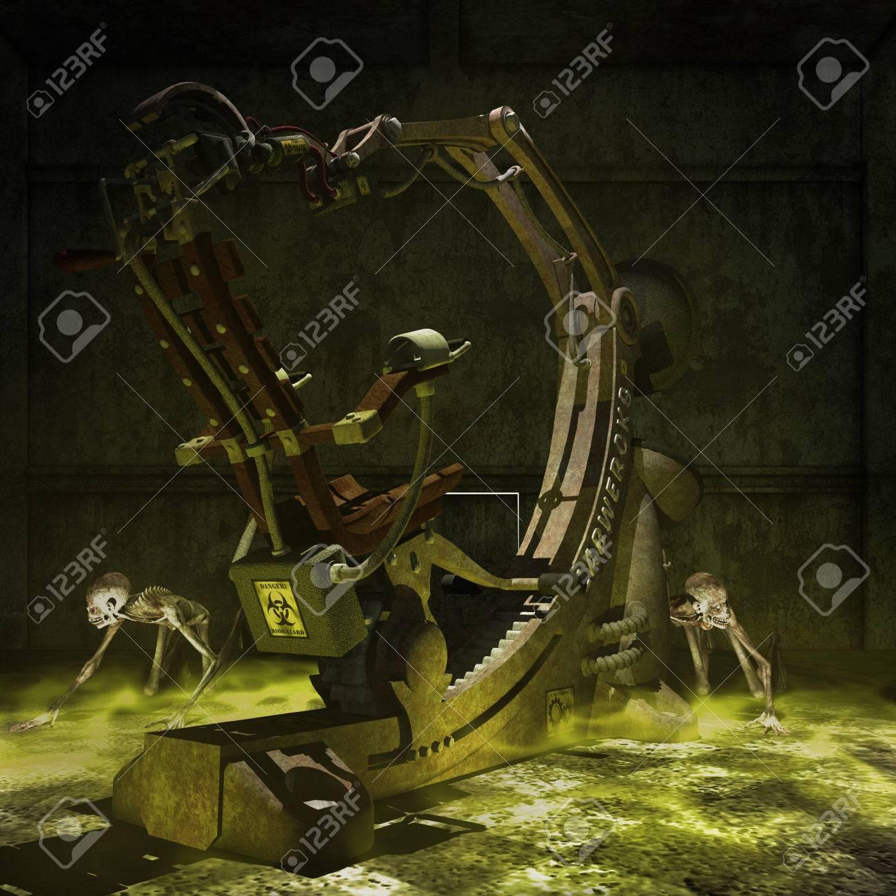 Dos zombis con vieja máquina oxidada médica en el cuarto oscuro