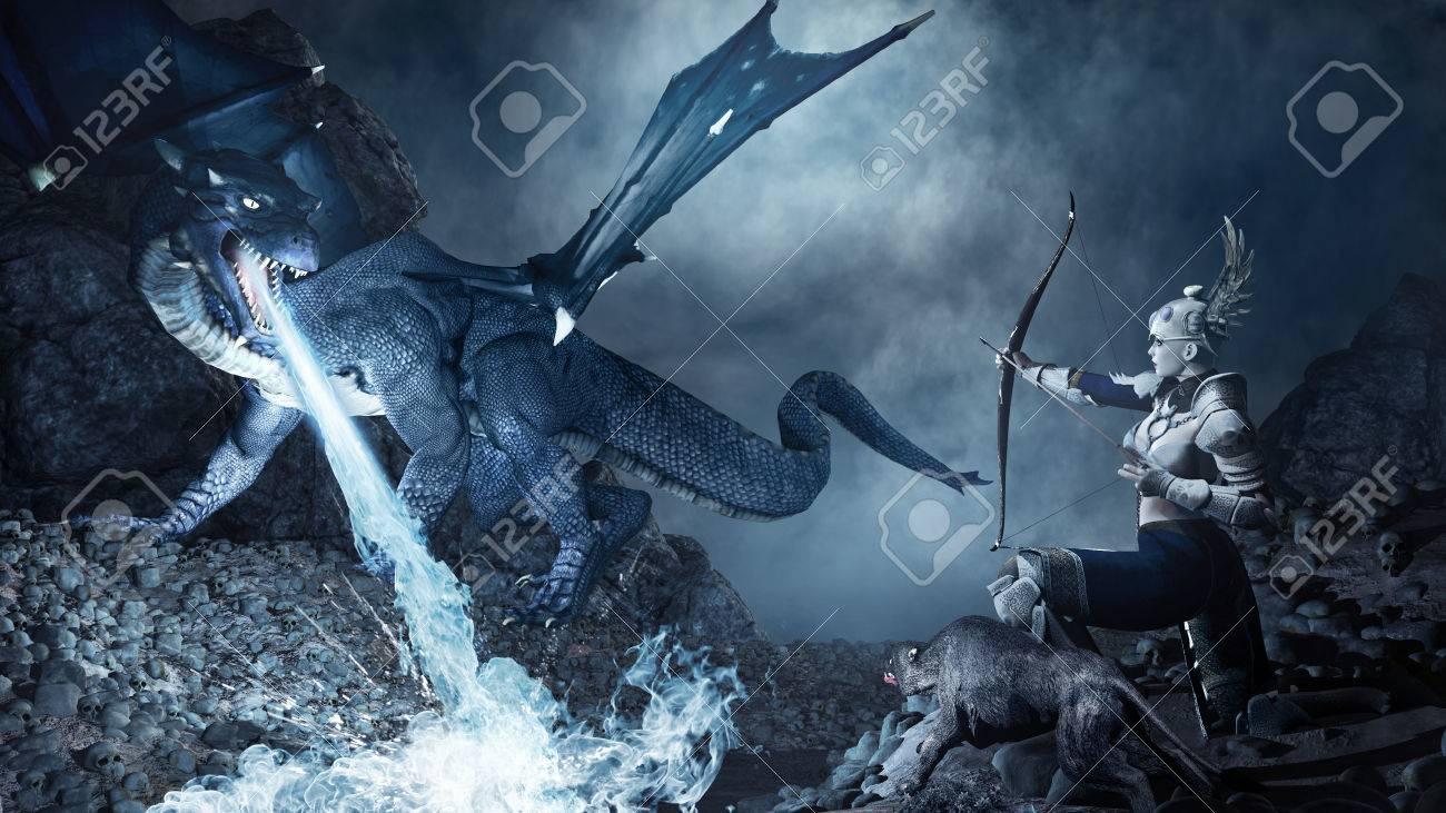 De Blauwe Draak.Fantasie Scene Met Schutter Schieten Op De Blauwe Draak