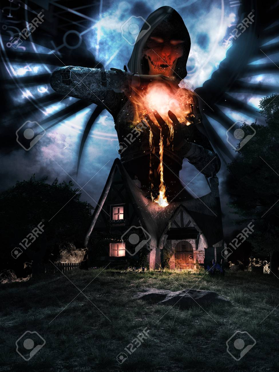 Night Scene With Old House And Angel Holding Fireball Stock Photo