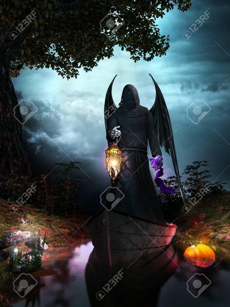 Night Scene With Angel Holding A Lantern Magic Mushrooms And Pumpkin Stock Photo