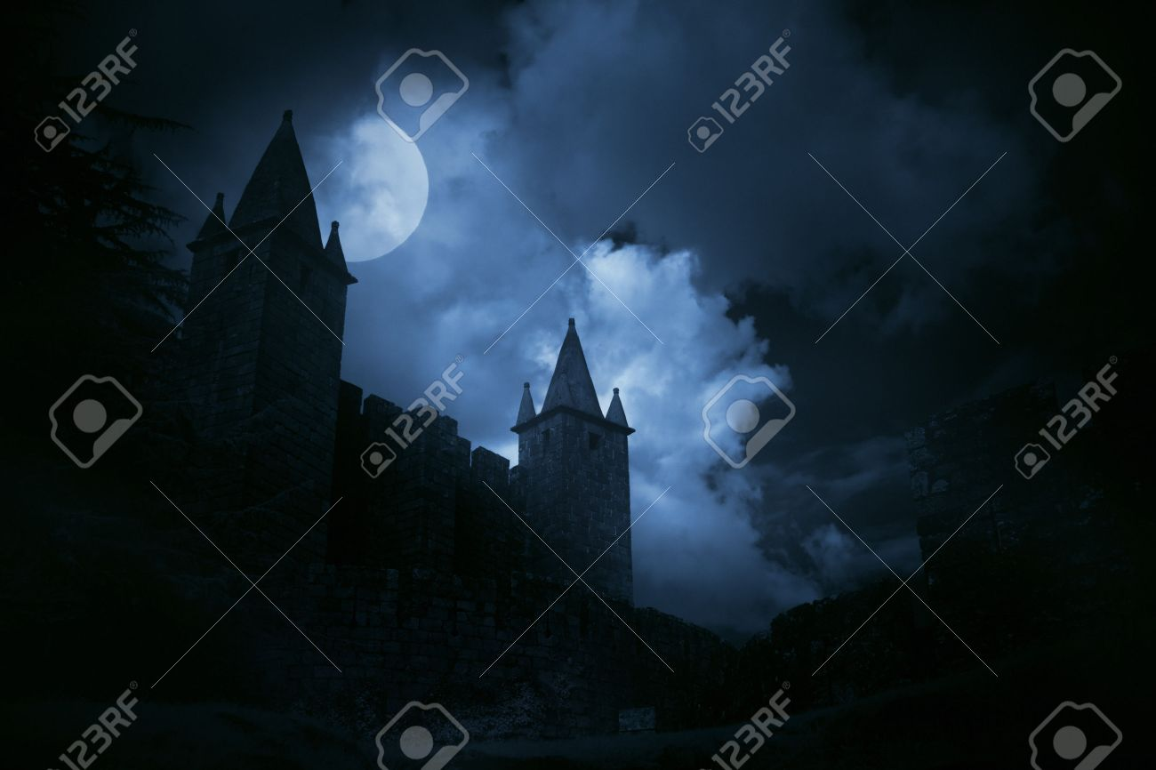 Mysterious medieval castle in a misty full moon. Added some digital noise. - 29582531