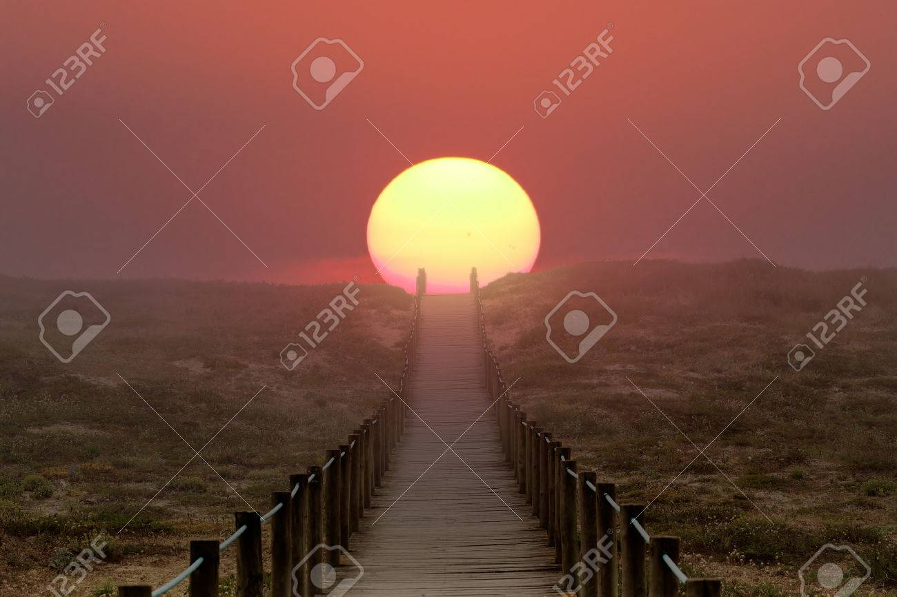 Wooden walkway over a dune near the sea. Path to sun, to summer and vacations. Illustration - 42845193