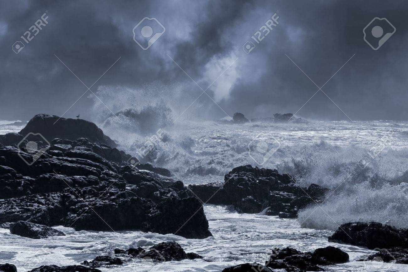 Typical sea storm from northern portuguese coast. Slightly enhanced sky. Toned blue. - 45163507