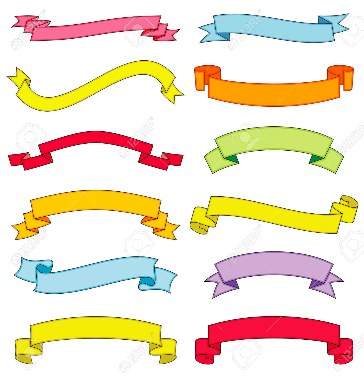 Set of vector ribbons and scrolls Stock Vector - 4961347