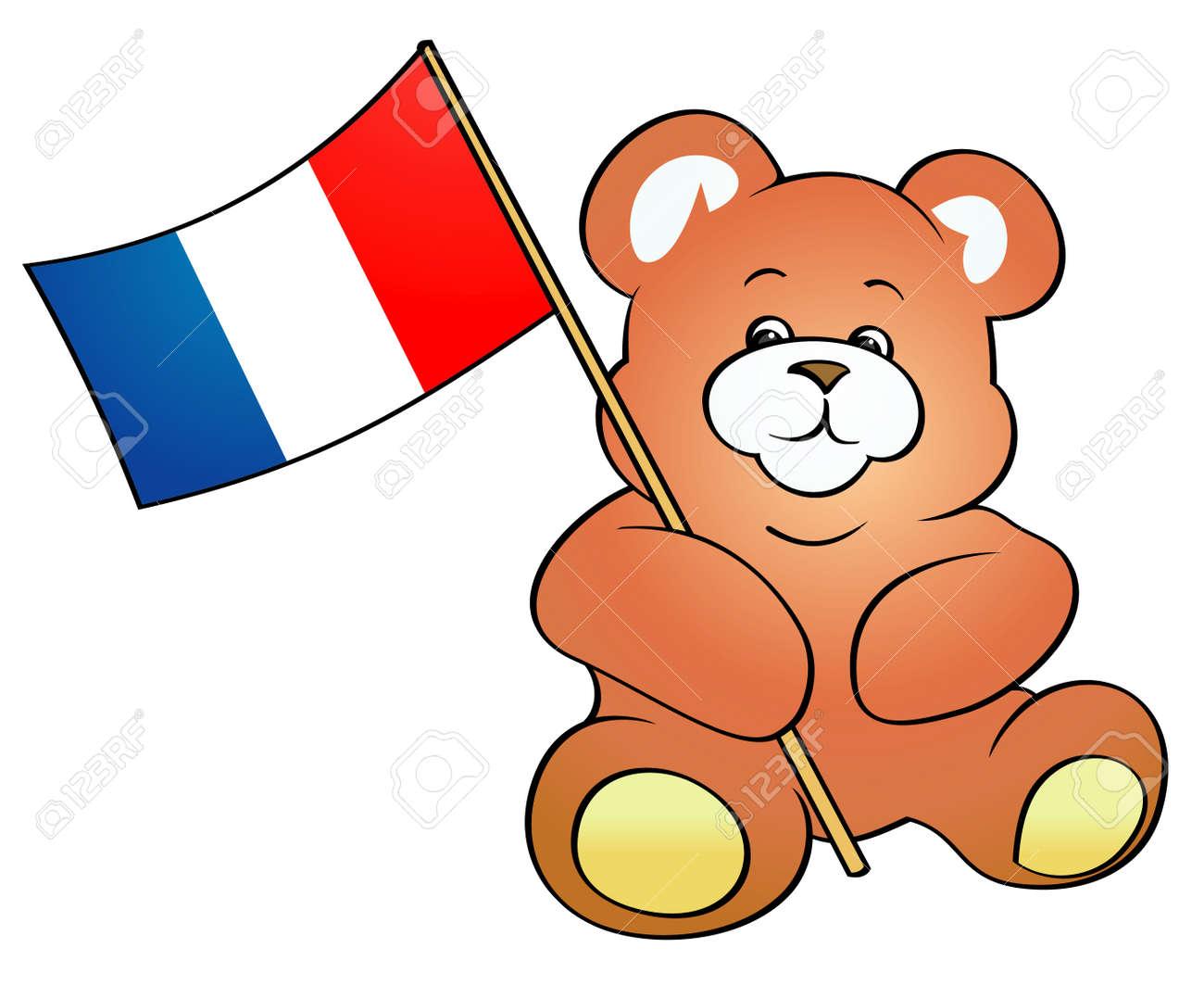 Teddy Bear Holding French Flag - Vector Illustration Stock Vector - 4961640