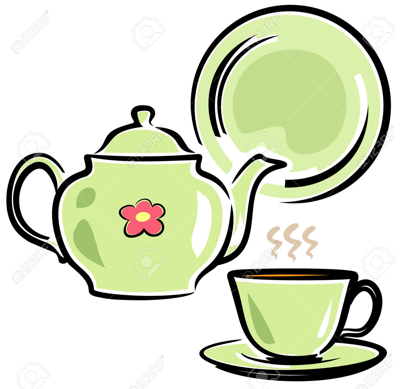 Teapot, Cup and Dish (Vector Illustration) Stock Vector - 4961390