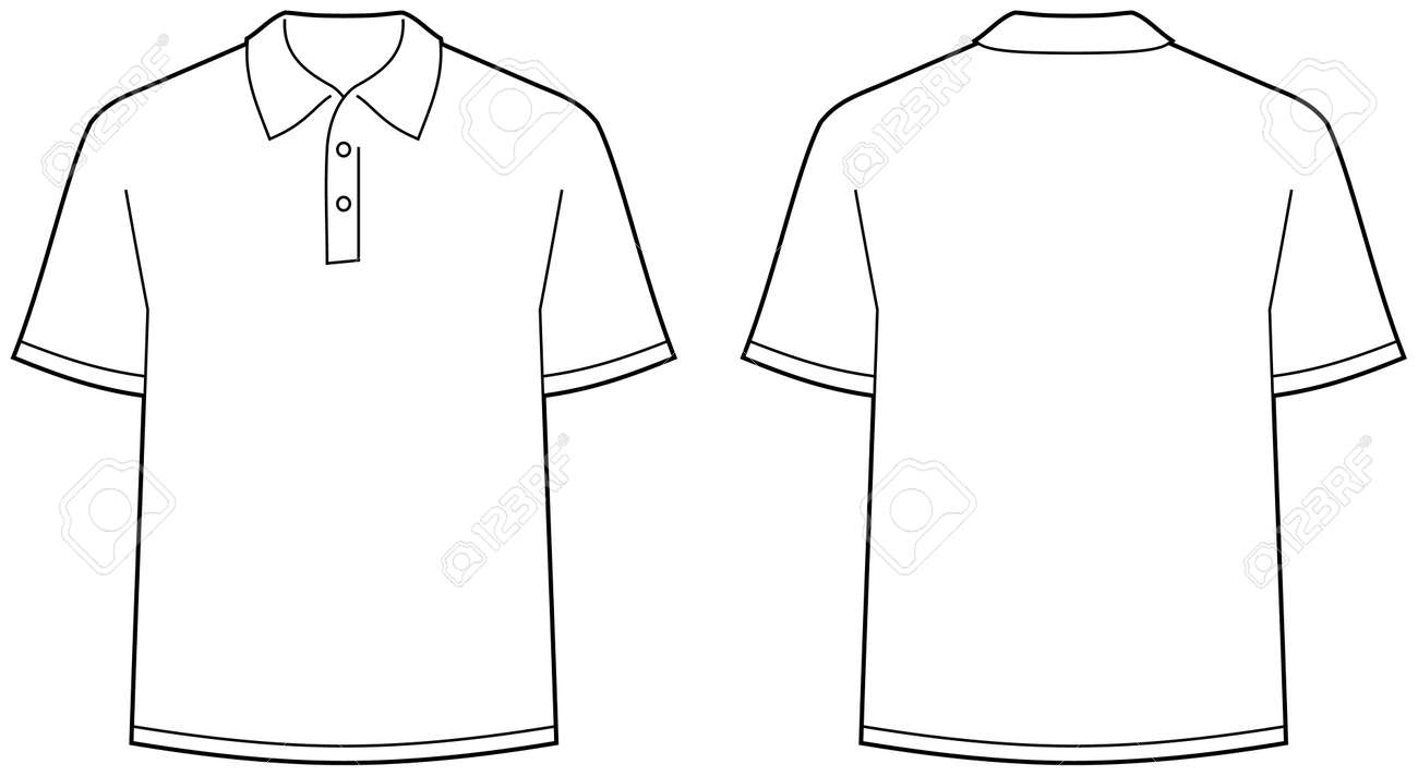 Black t shirt vector front and back - Polo Shirt Front And Back View Isolated Stock Vector 4971683