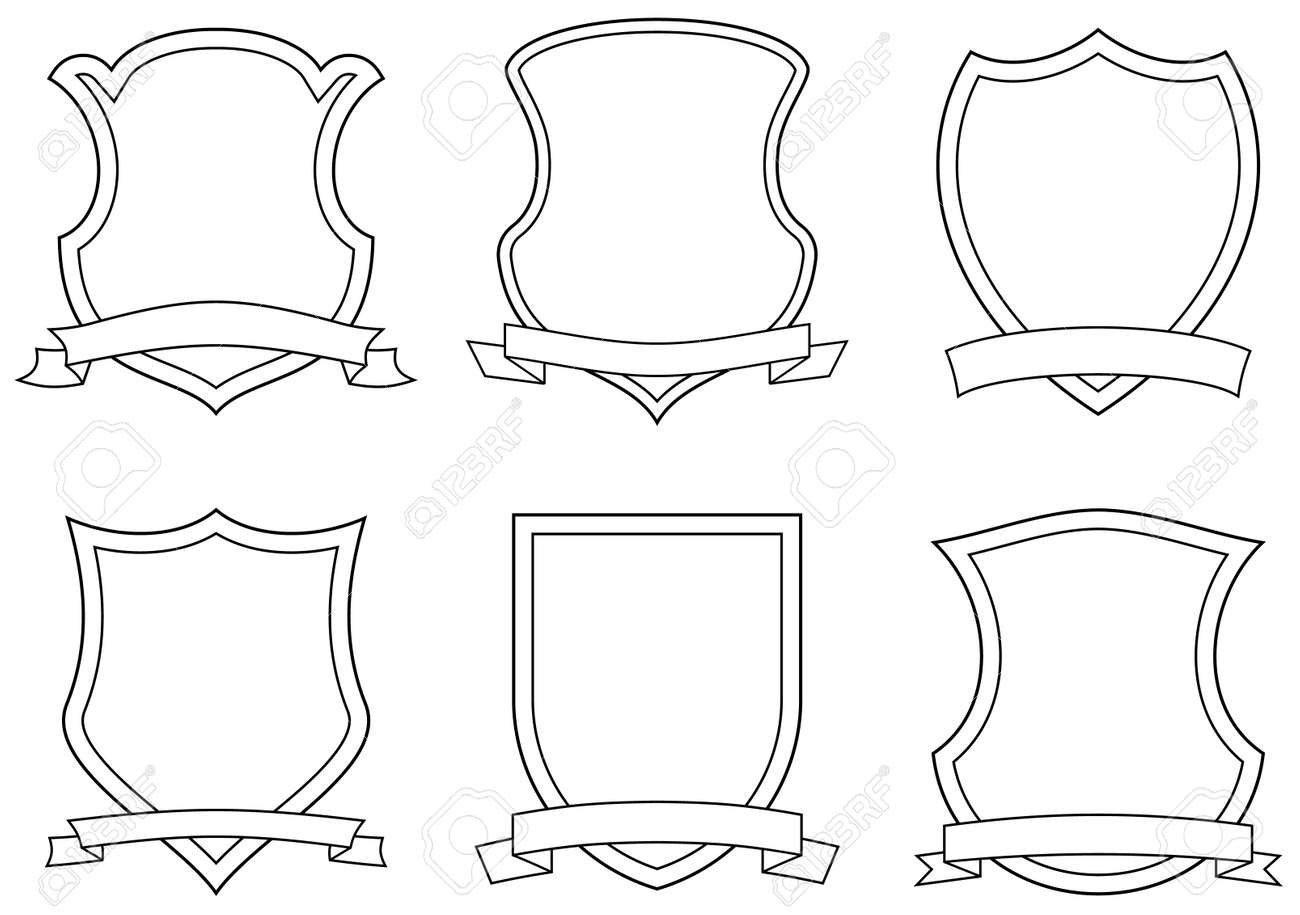 Set of vector emblems, shields and scrolls - 4971724