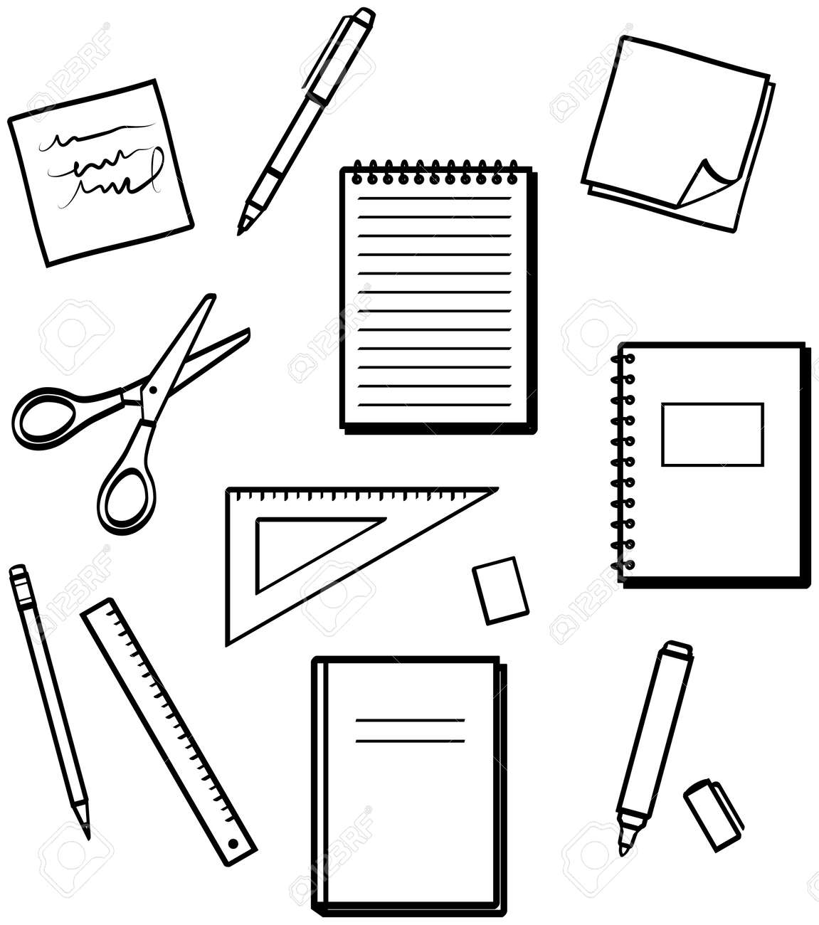 office supplies vector illustrations royalty free cliparts rh 123rf com Office Supply Room office supplies clipart