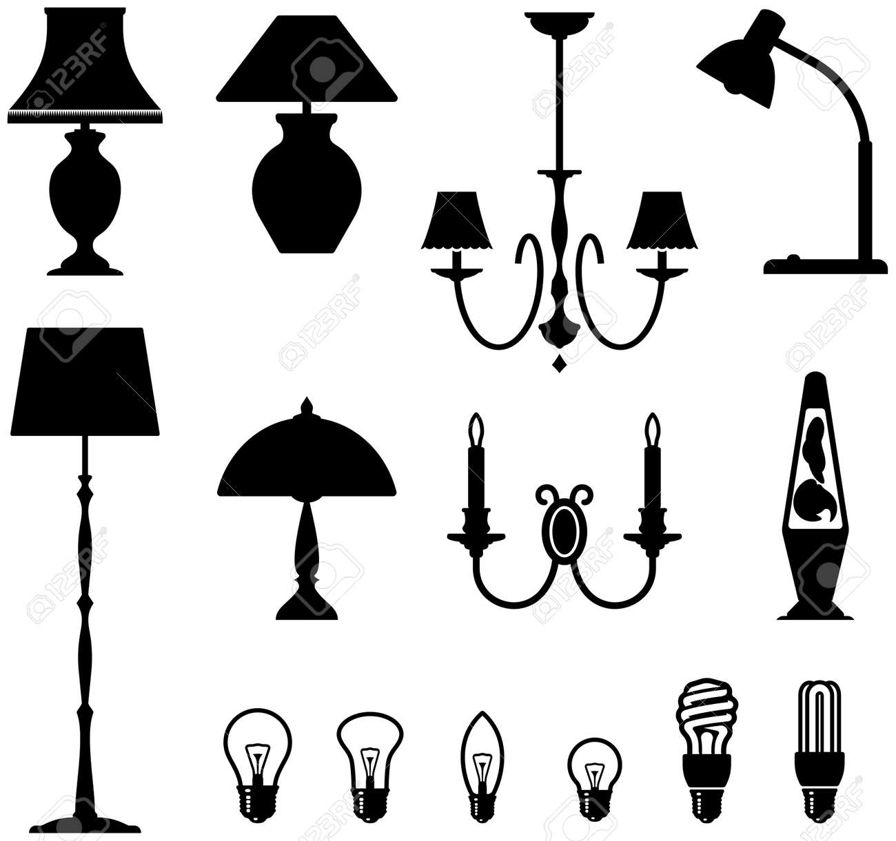 Lava lamp vector - Electric Lamps Chandeliers And Light Bulbs Stock Vector 5301321
