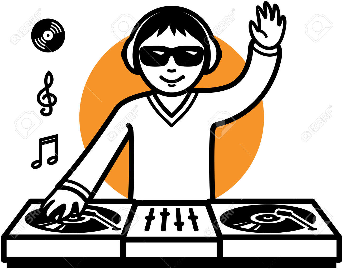party dj at turntable illustration royalty free cliparts vectors rh 123rf com dj clip art pictures dj clipart png