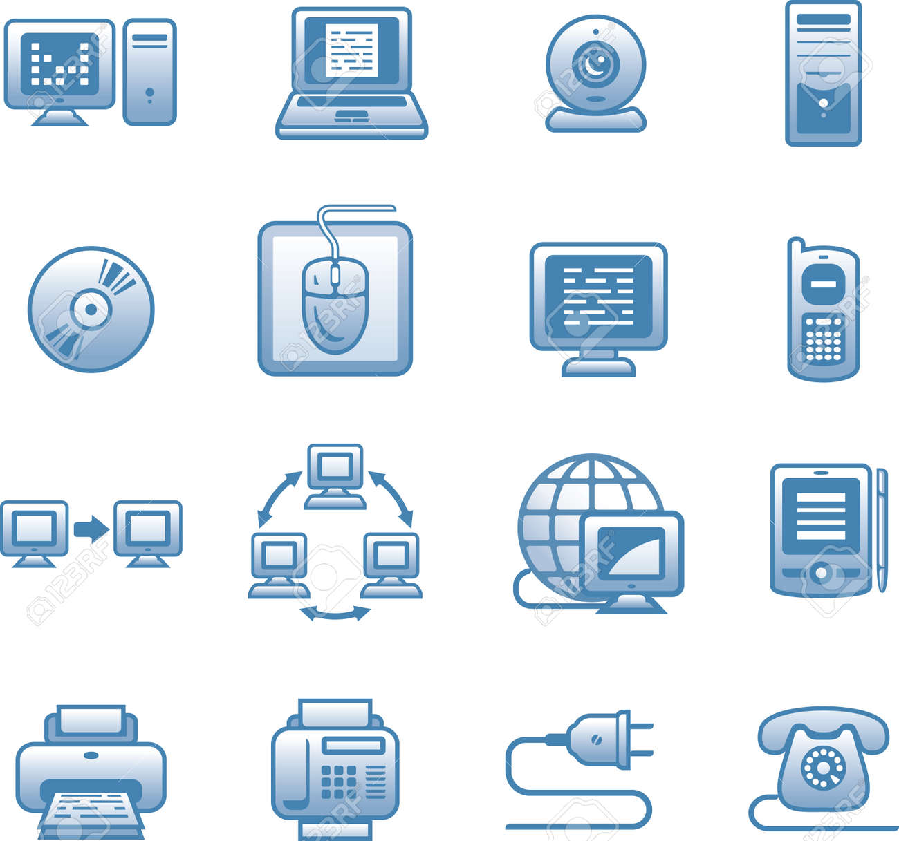 E-communications  icon set Stock Vector - 7139219