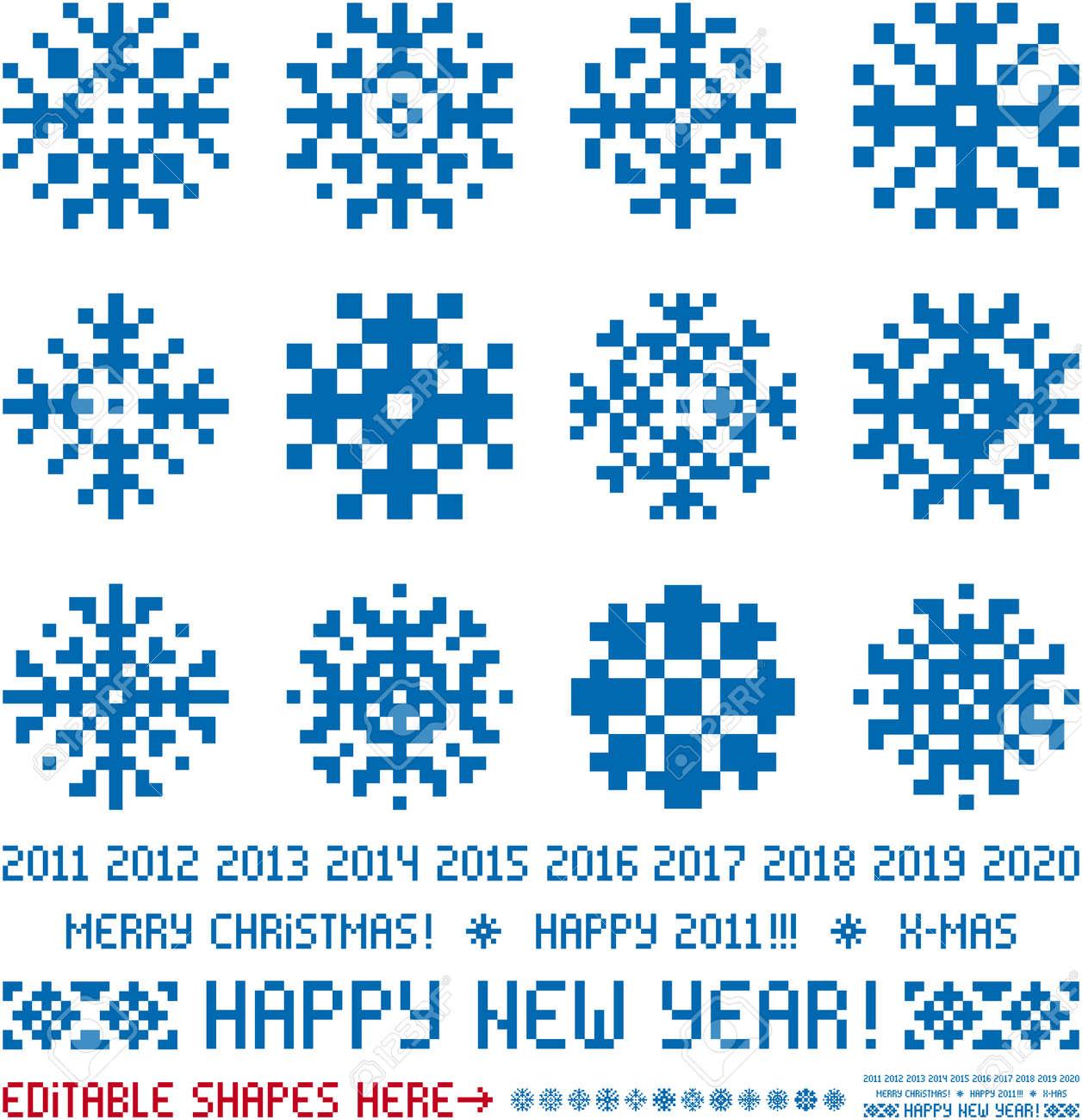 Schneeflocken Im Pixel-Stil. Weihnachten Und Neujahr Grüße 2011-2020 ...