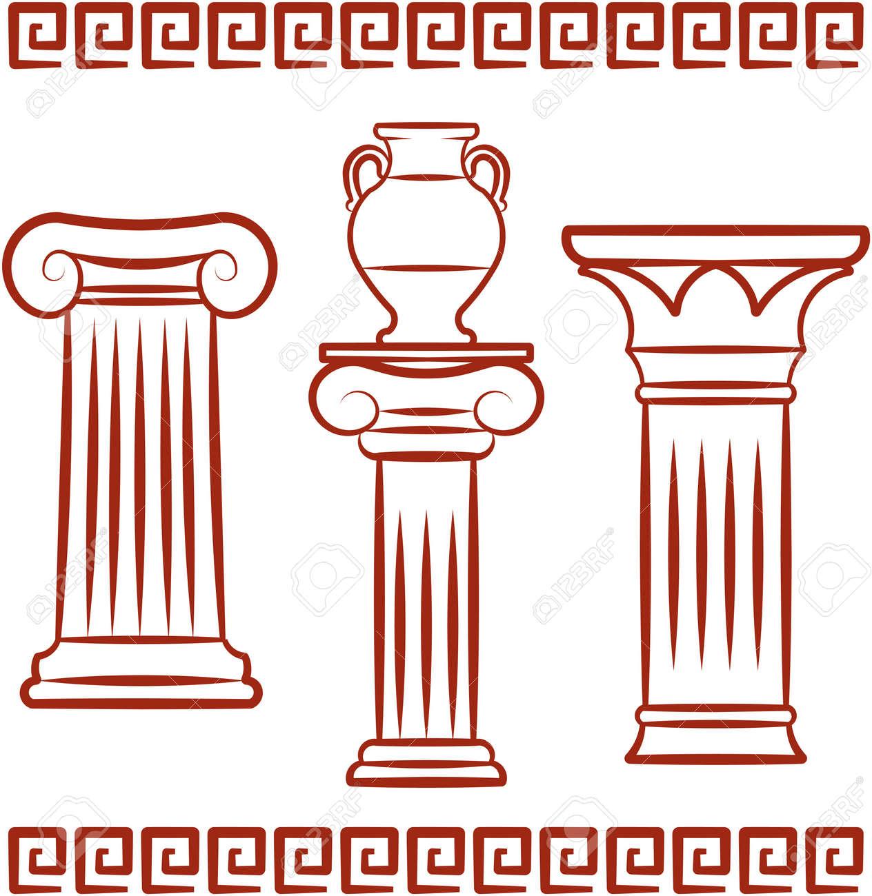 Antique art – Pillars and ceramics. Vector illustration - 9667578