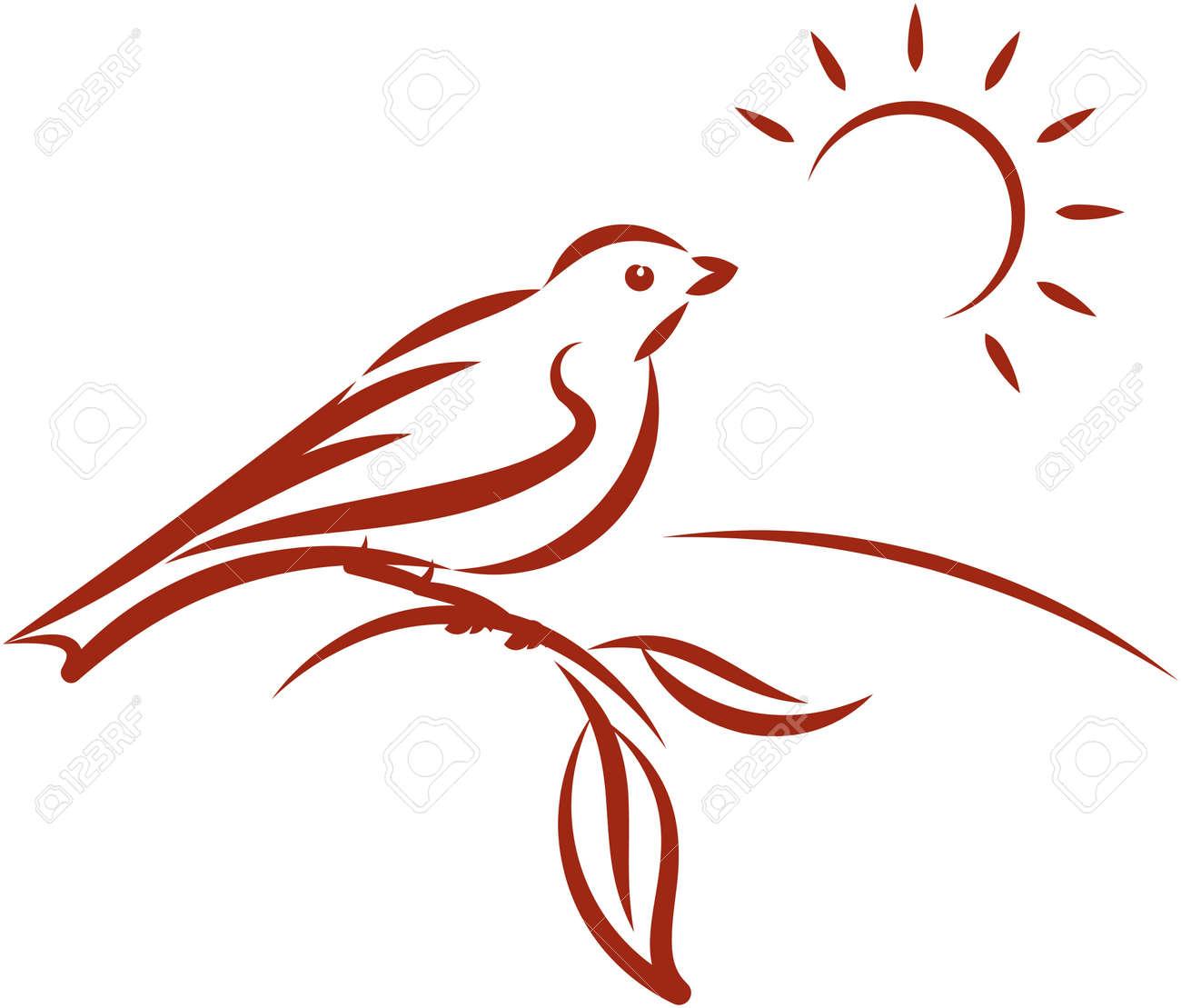 Little bird on a tree branch. Vector illustration Stock Vector - 9667538