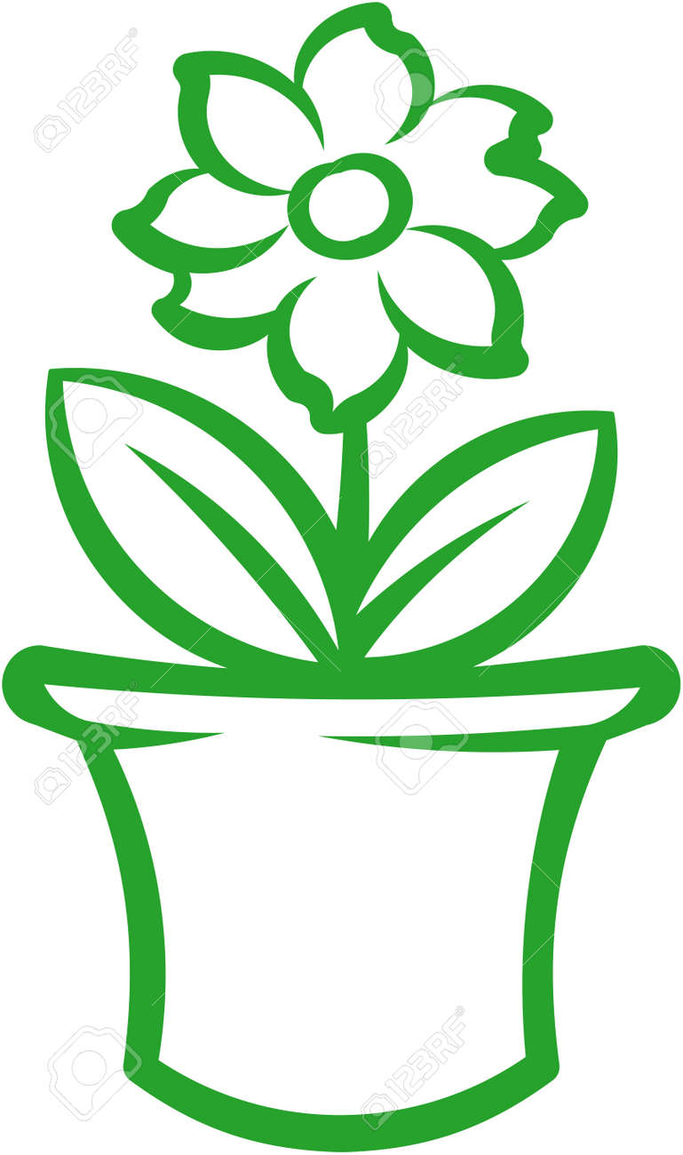 Flower pot with green plant. Vector illustration Stock Vector - 9667559