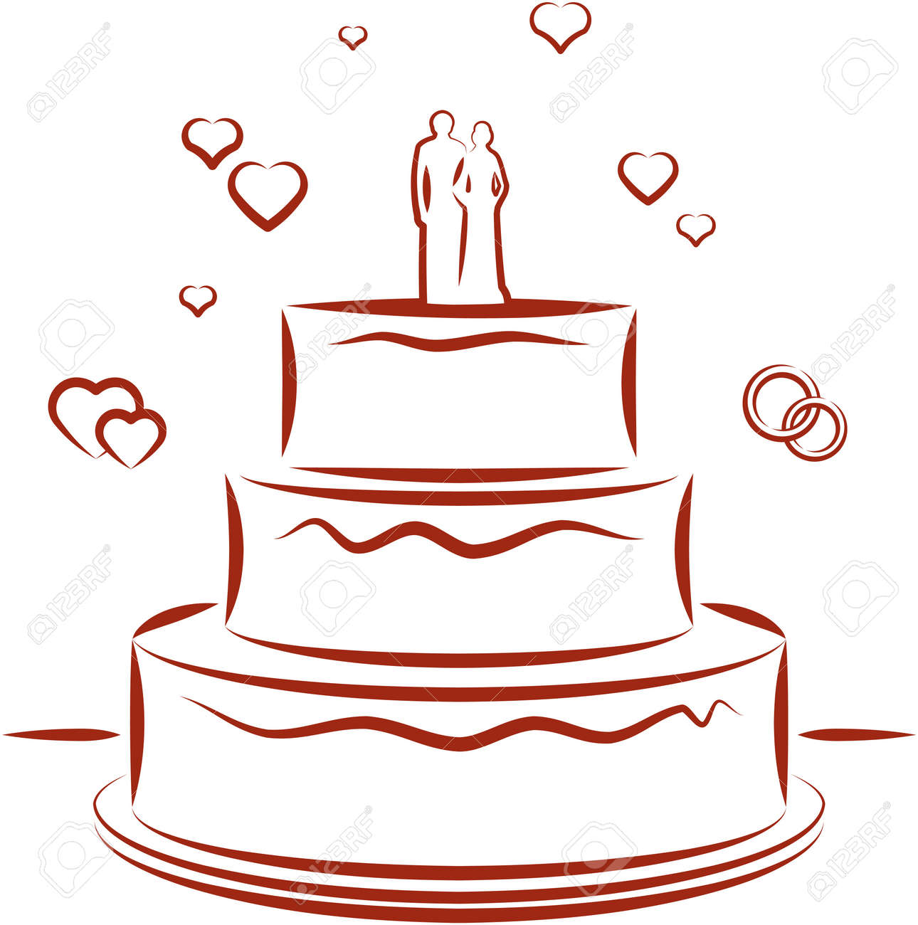 Wedding Cake Vector Illustration Royalty Free Cliparts Vectors