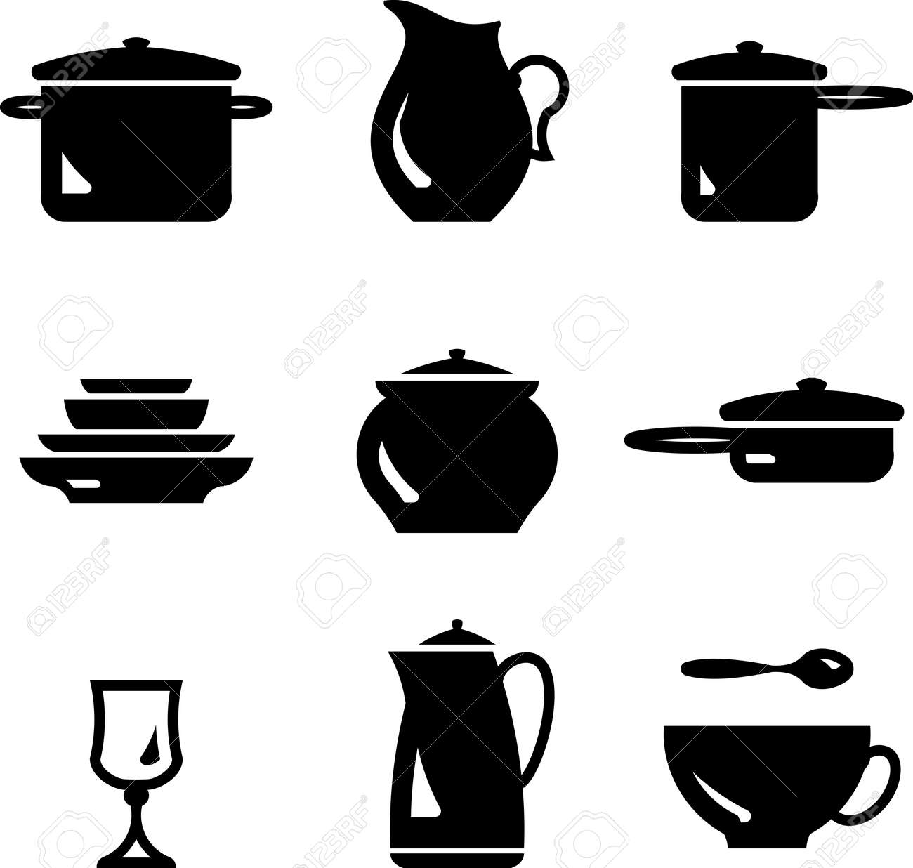 Kitchen Utensils Silhouette Vector Free kitchen utensils – dishware (vector) royalty free cliparts