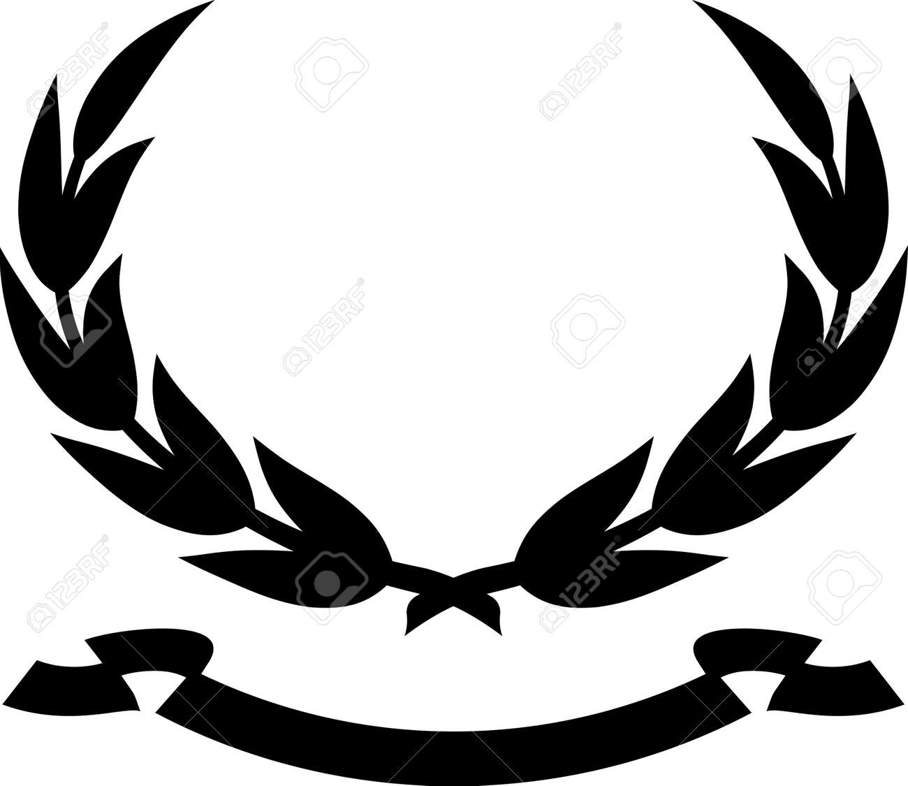 laurel wreath and ribbon isolated on white - 13464841