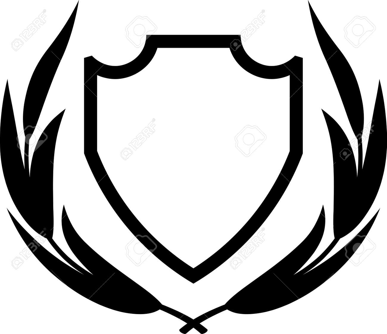 vector shield and laurel wreath isolated royalty free cliparts