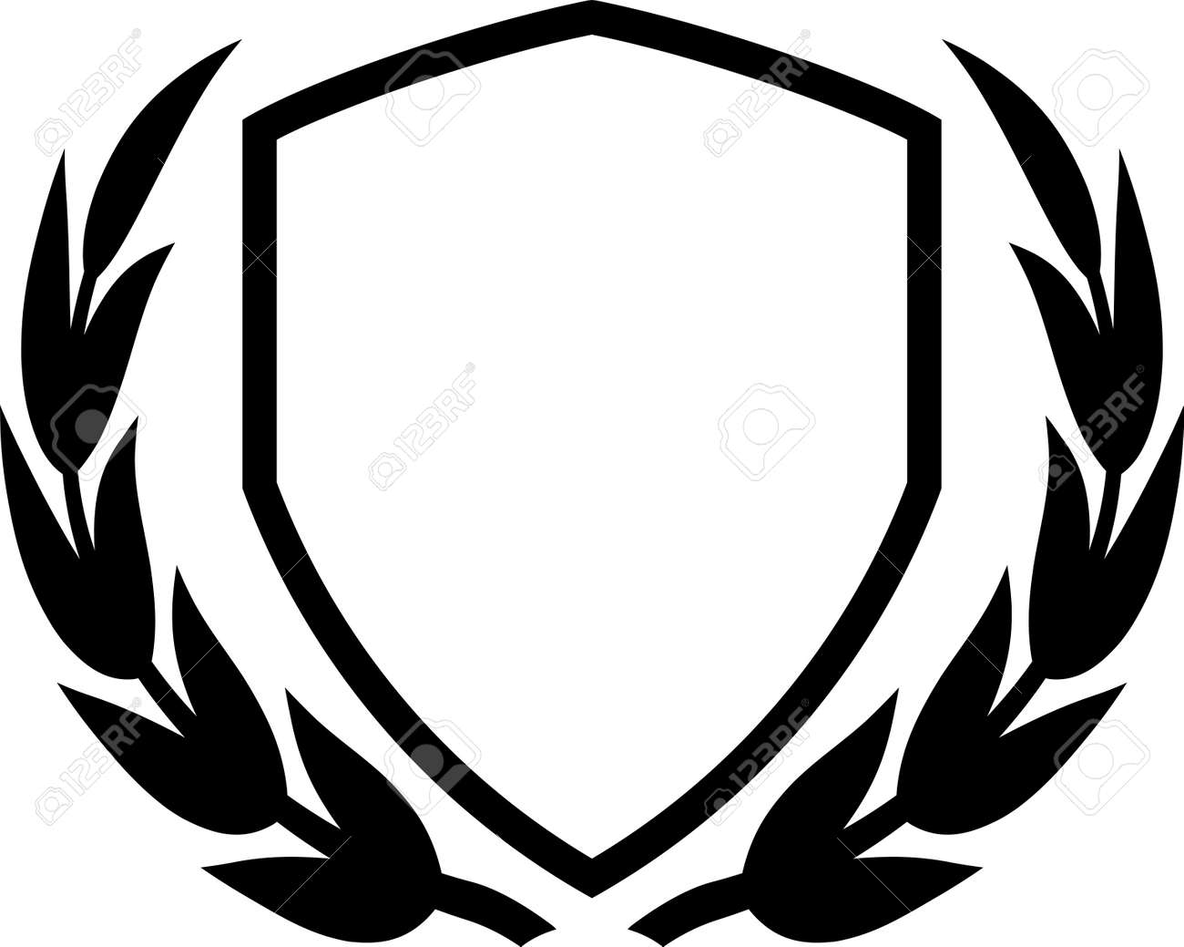 Vector shield and laurel wreath isolated on white - 13596200