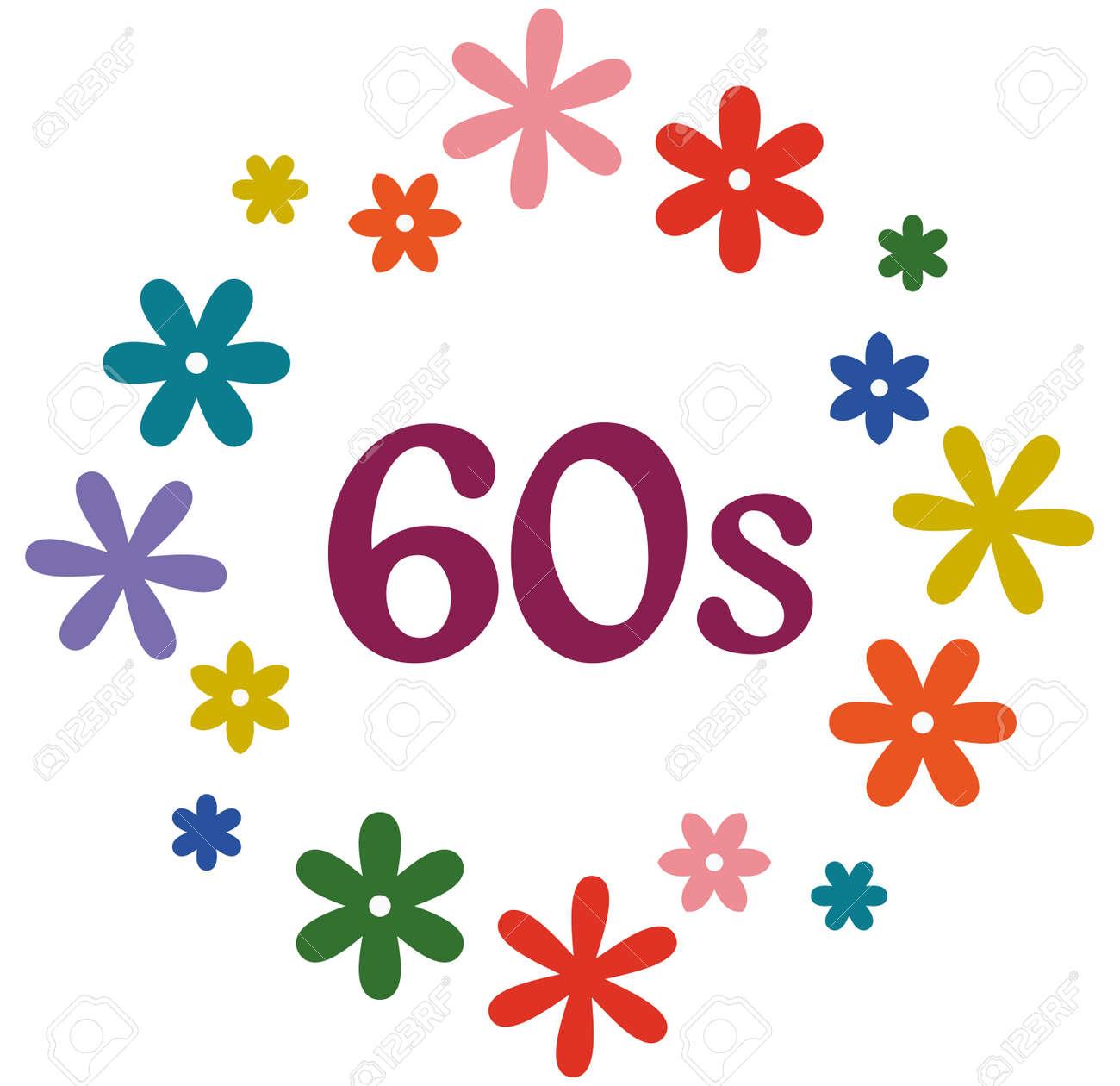 60s Flower Power Retro Style Design Illustration Royalty Free Cliparts Vetores E Ilustracoes Stock Image 43675328