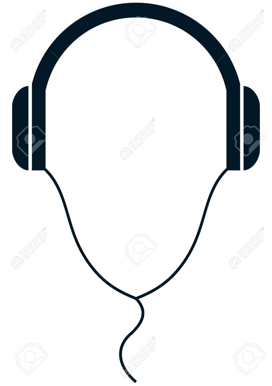 Kopfhörer Draht Einfache Vektor-Illustration Isoliert Auf Weiß ...