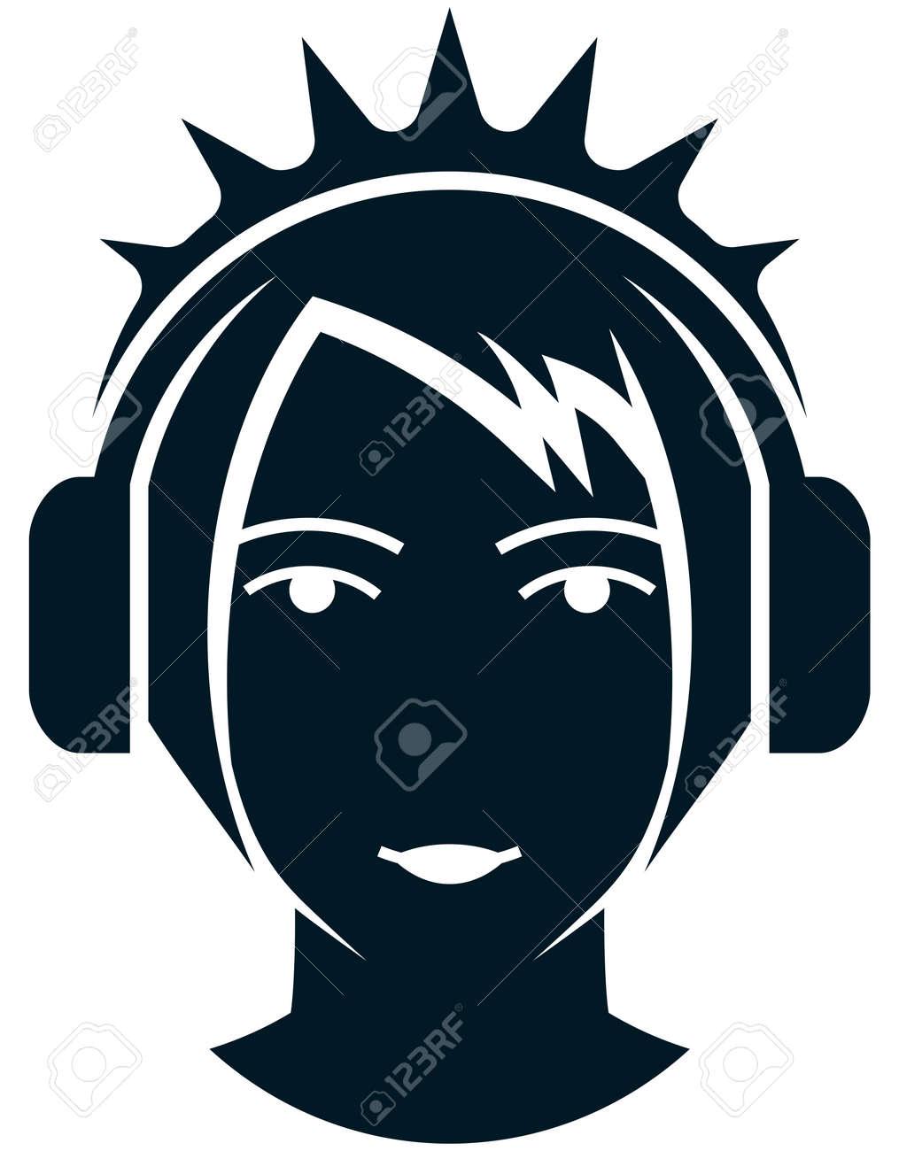 Mädchengesicht Kopf In Kopfhörer Isoliert Lizenzfrei Nutzbare ...