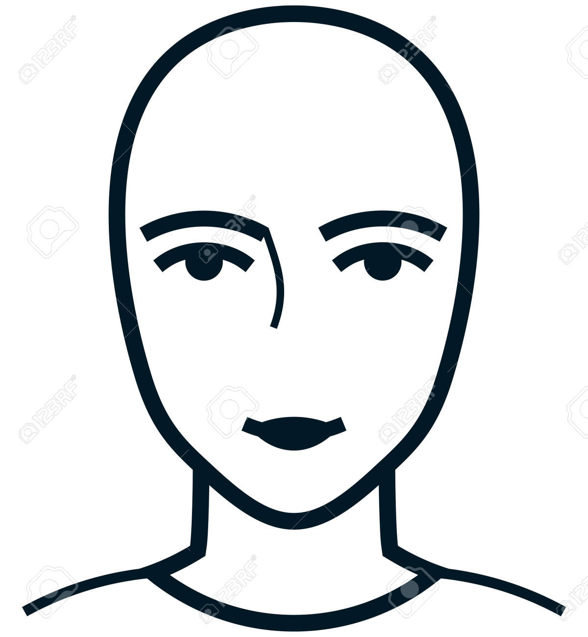 female face head simple front illustration isolated royalty free rh 123rf com face vector art face vector png