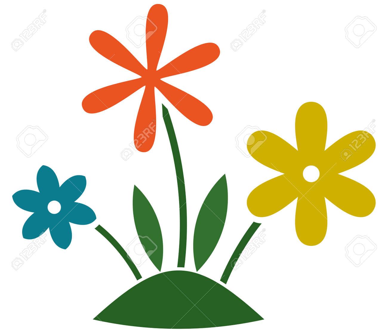 花草の芝生ガーデニング イラスト分離のイラスト素材ベクタ Image