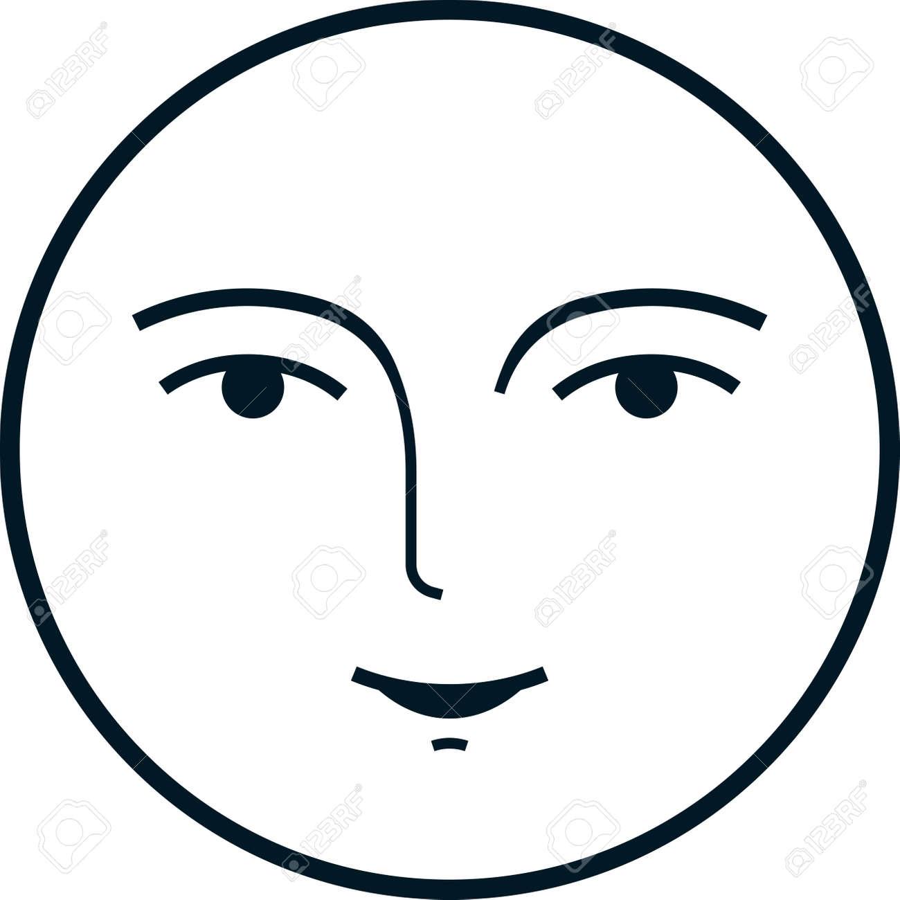 Full moon face vintage vector illustration isolated