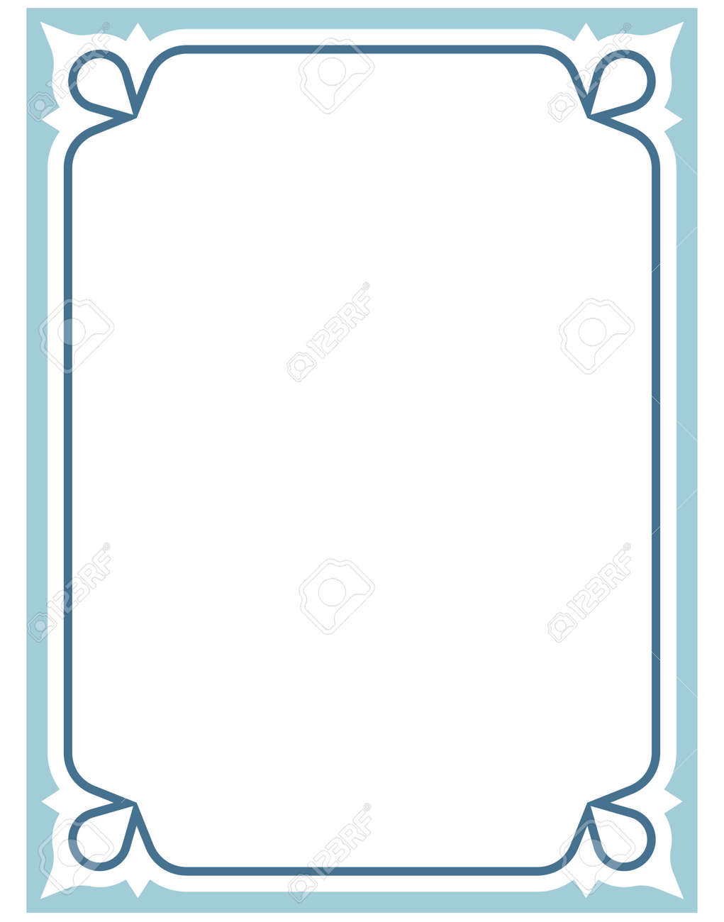 Blue Border Frame Deco Vector Art Simple Line Corner Stock