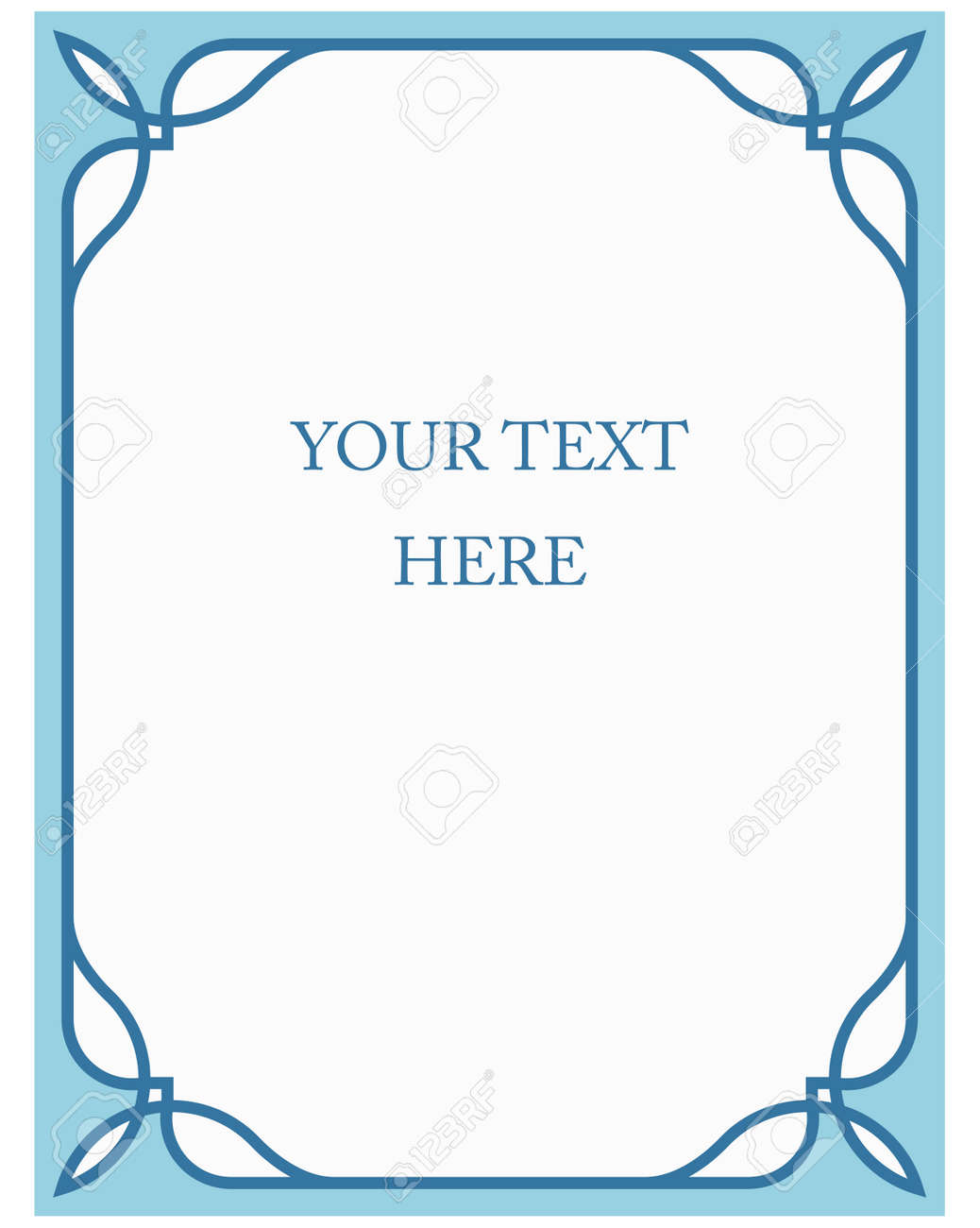 Blue Border Frame Deco Vector Label Simple Line Corner Stock