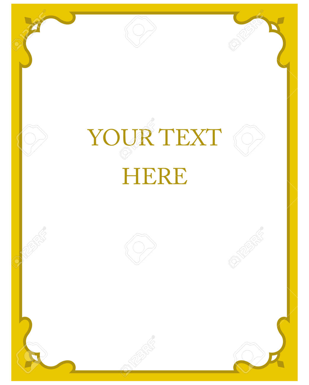 Yellow Gold Border Frame Deco Vector Art Simple Line Corner Royalty