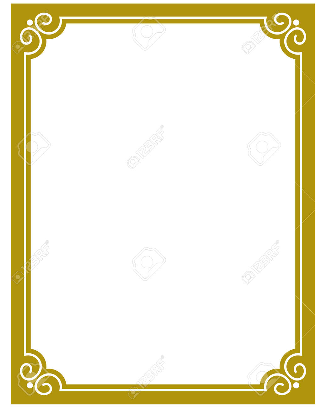 yellow gold border frame deco vector art simple line corner stock vector 52559384 - Yellow Frame