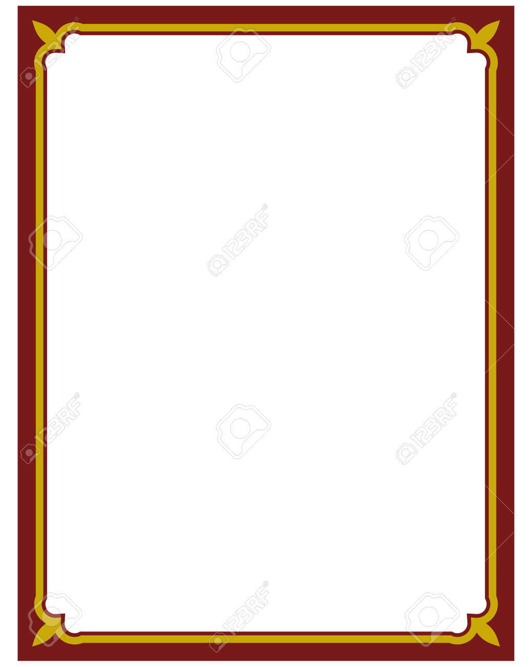 Border Frame Red Deco Plaque. Vector Art Simple Line Corner Royalty ...