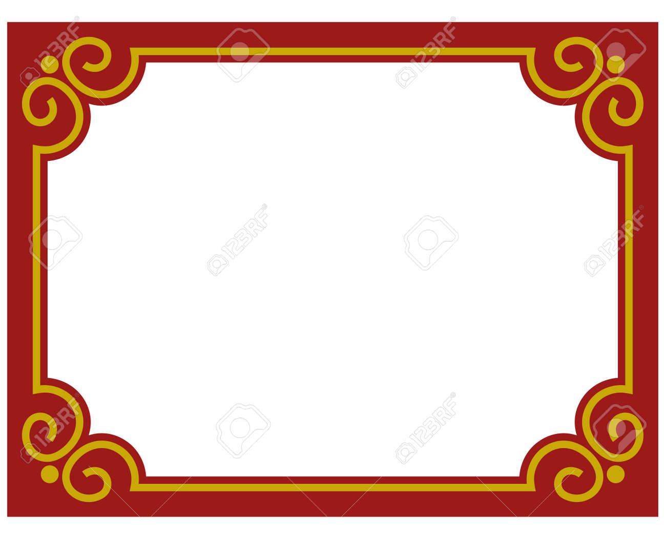 Border Frame Red Deco Plaque. Vector Art Einfache Linie Ecke ...
