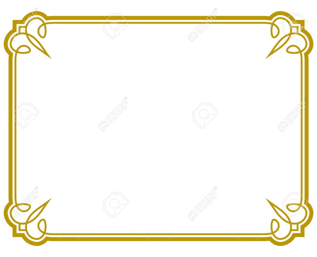 Yellow gold border frame deco vector art simple line corner - 52604156