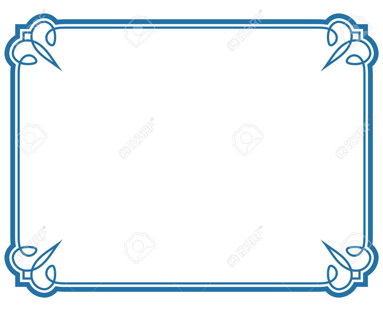 Blue Border Frame Deco Vector Label Simple Line Corner Stock