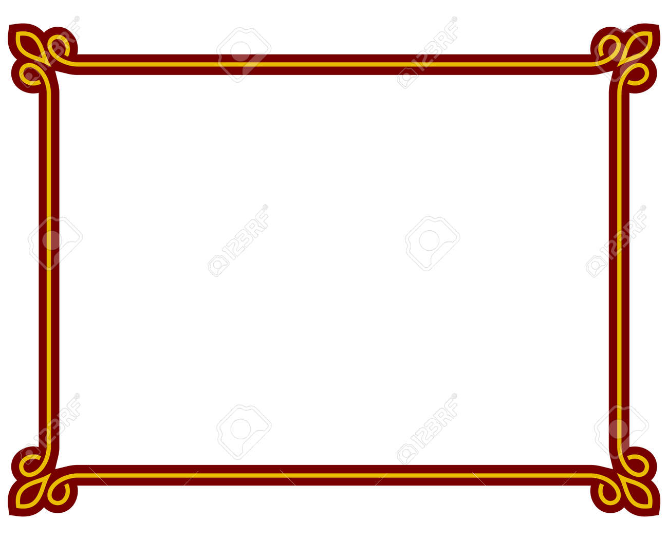 red border frame deco plaque vector art simple line corner royalty