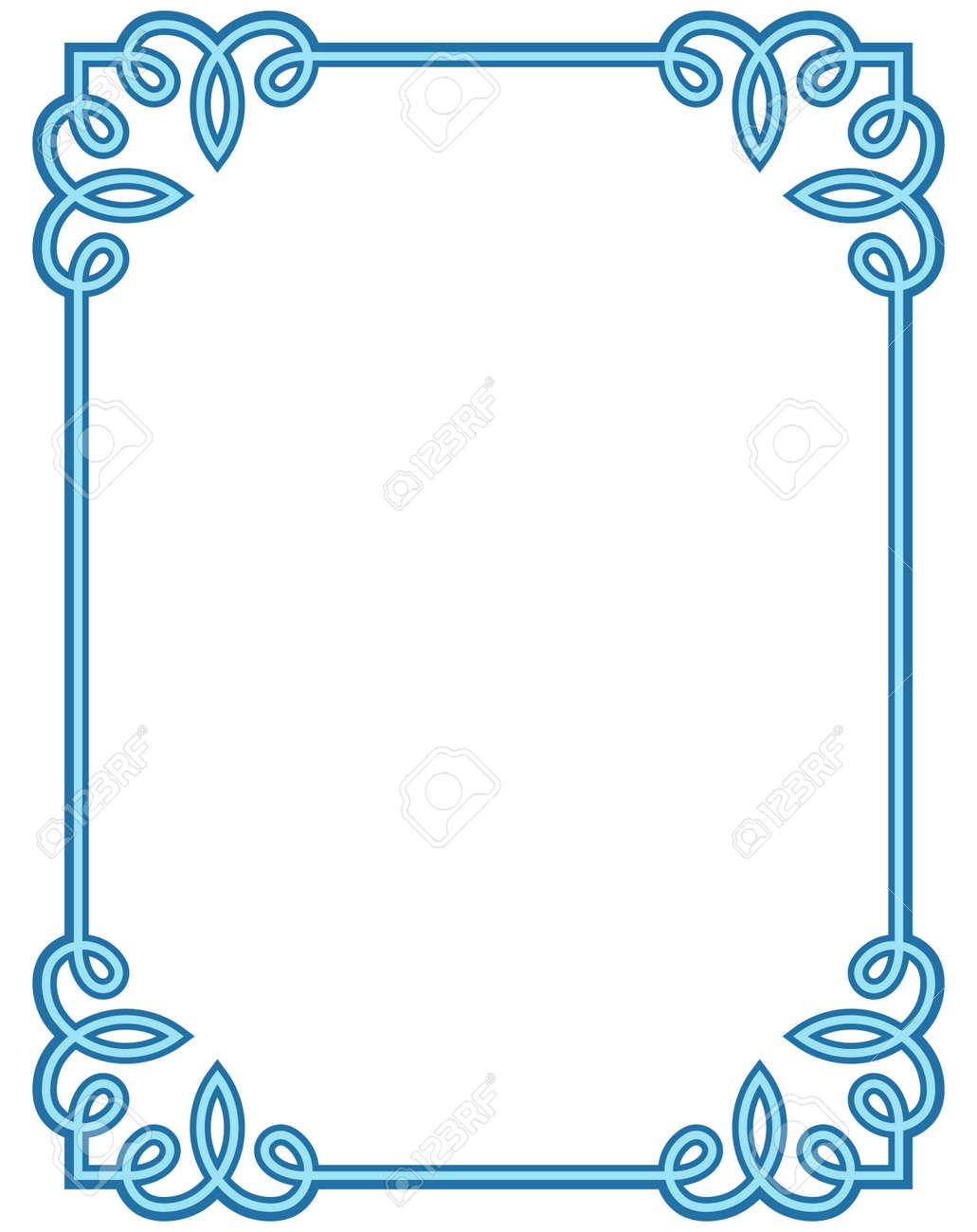 blue border frame deco vector label simple line corner royalty free