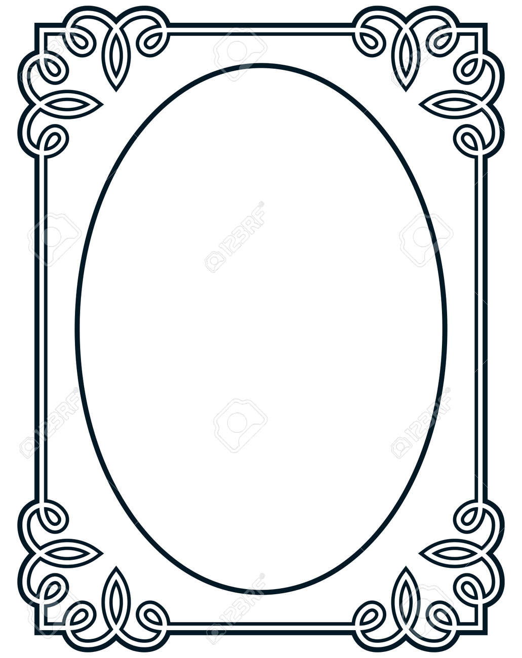 Oval Border Photo Frame Deco Vector Simple Vertical Line Signboard Stock