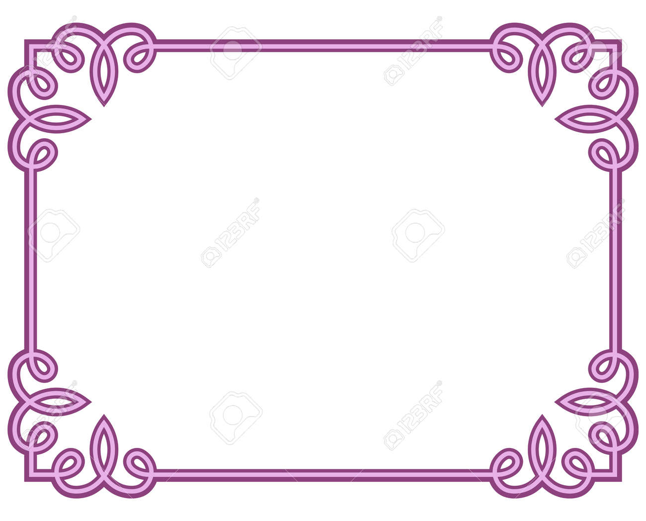 Pink Purple Border Frame Deco Vector Art Simple Line Corner Royalty