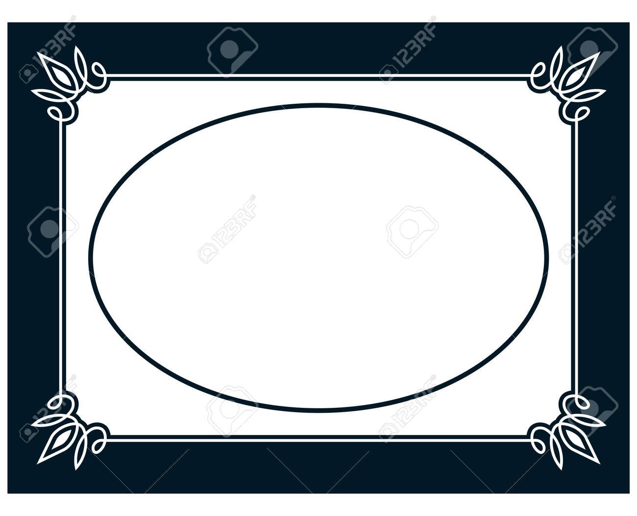 Oval Border Photo Frame Deco Vector Simple Vertical Line Signboard Stock