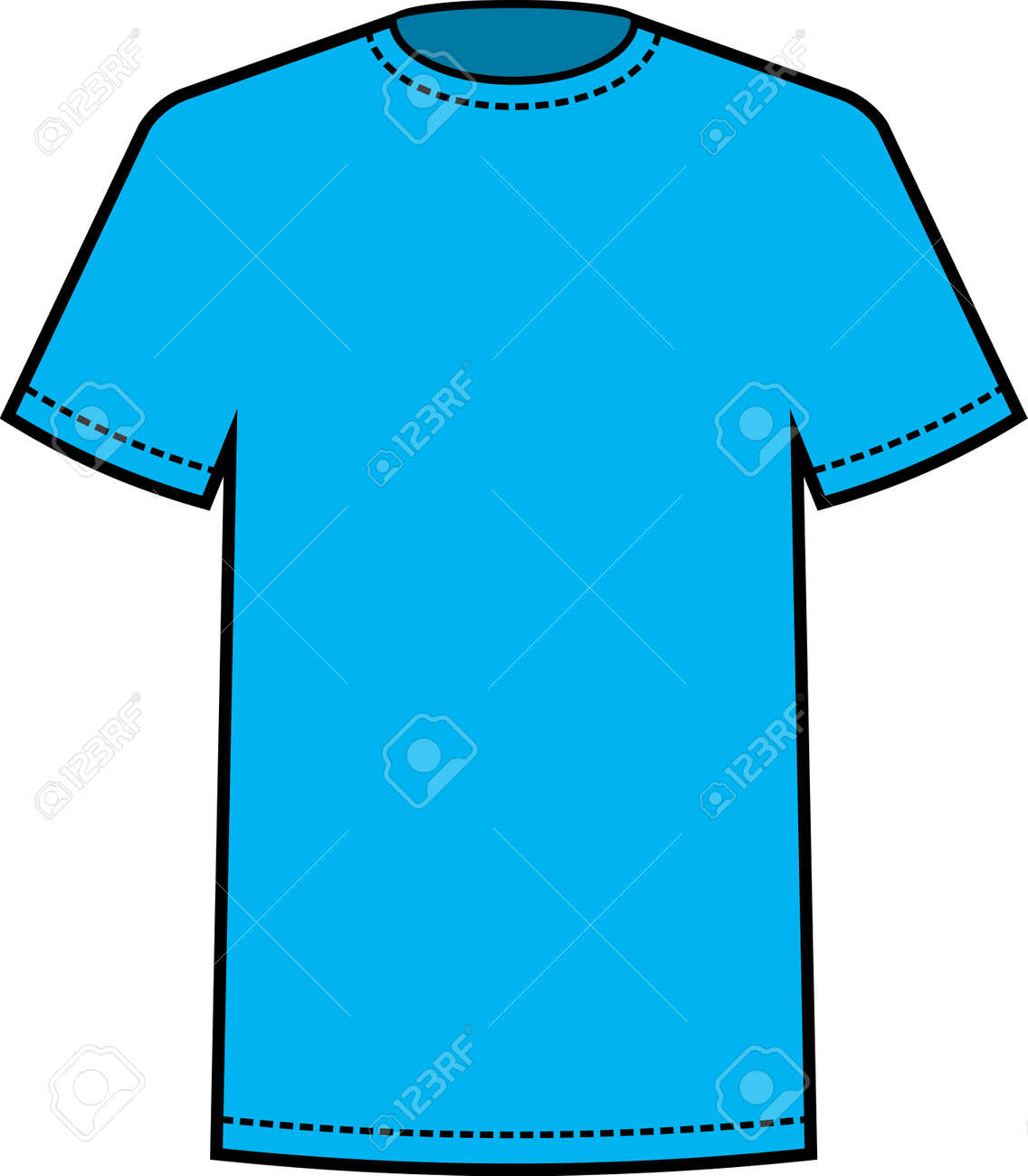 Blank Blue T-shirt Template Vector Royalty Free Cliparts, Vectors ...
