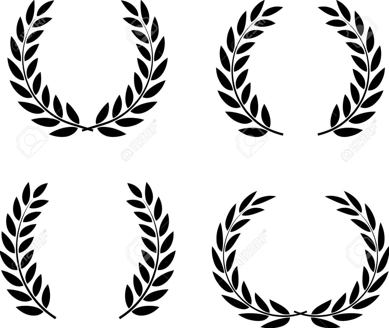 Laurel wreaths set vector isolated - 52870395
