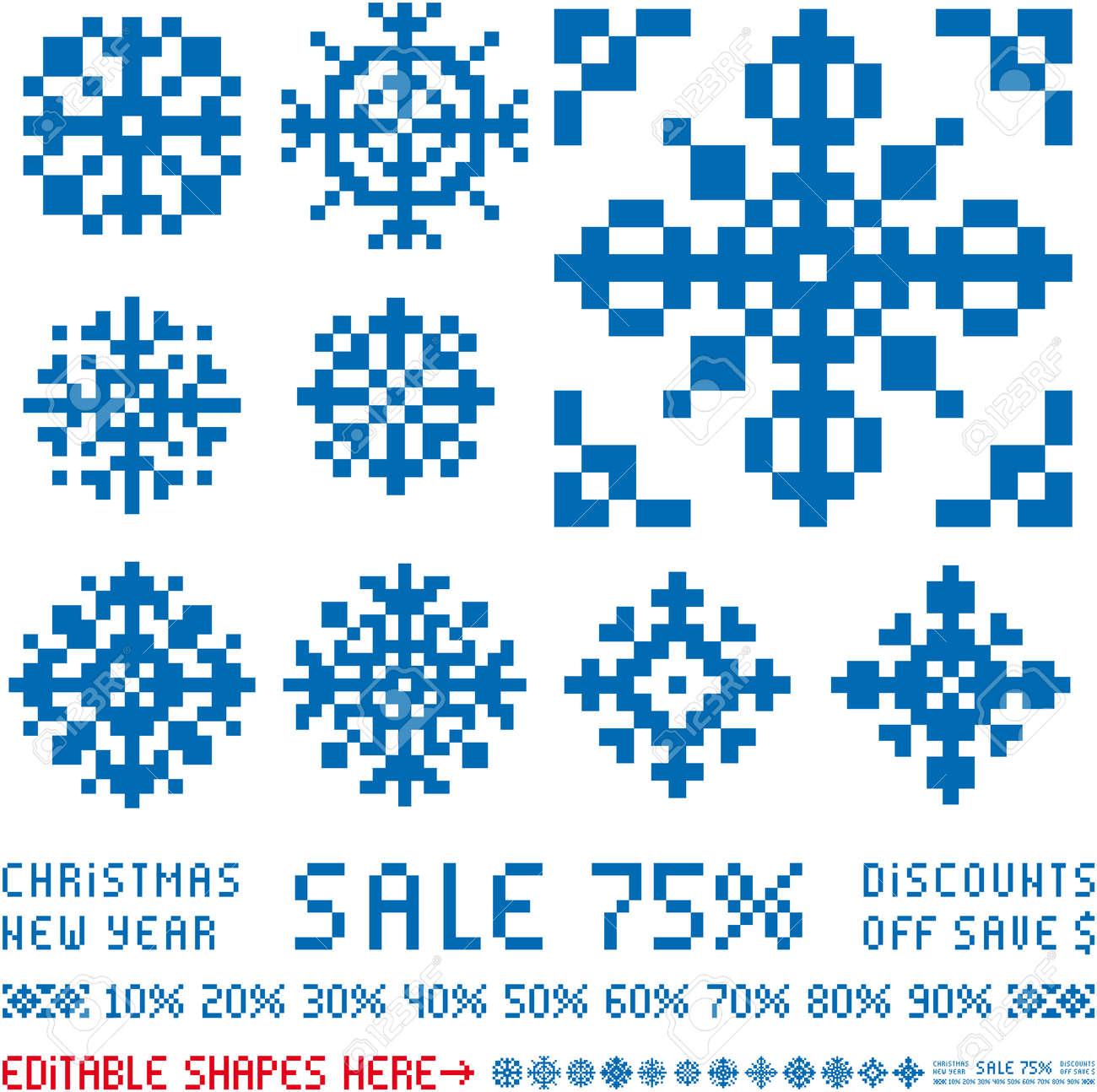 Dessins De Flocons De Neige Vecteur Vente Noël Dans Un Style Rétro Pixel
