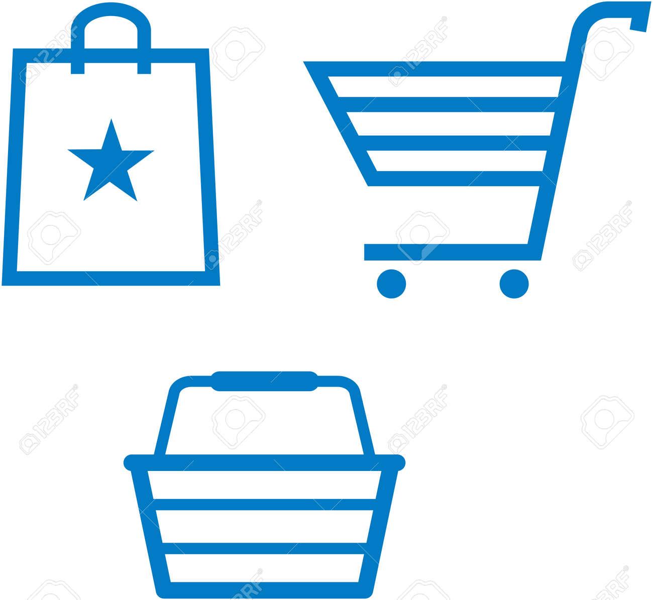 Shopping items - shopping cart, shopping bag and shopping basket - vector illustration - 53139247