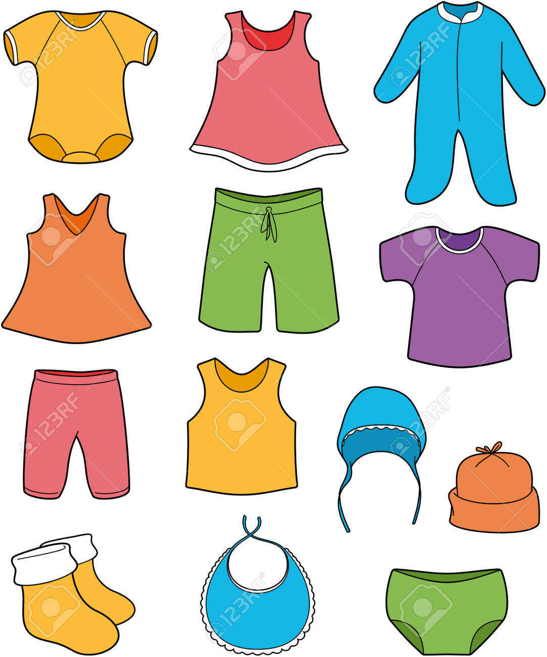 baby clothes vector color illustration royalty free cliparts